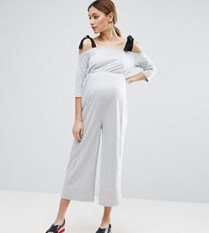 Трикотажный комбинезон с поплиновыми завязками на плечах ASOS Maternity - Серый