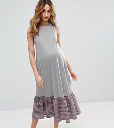 Платье миди в полоску с рюшами по низу ASOS Maternity TALL - Синий