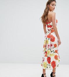 Платье-бандо миди с поясом и баской True Violet - Мульти