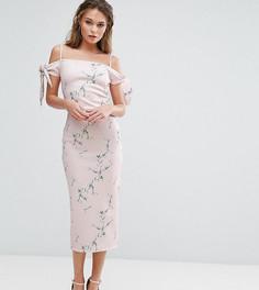 Платье миди с открытыми плечами и цветочным принтом True Violet - Мульти