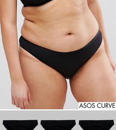 3 пары бразильских трусов из 100% хлопка ASOS CURVE - Черный
