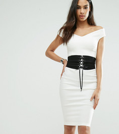 Платье-футляр с корсетом и открытыми плечами Vesper - Кремовый
