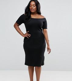 Облегающее платье с открытыми плечами и головиной в рубчик ASOS CURVE - Черный