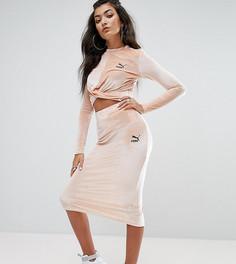 Бархатная облегающая юбка Puma эксклюзивно для ASOS - Розовый