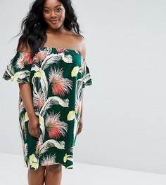 Свободное платье с открытыми плечами и тропическим принтом ASOS CURVE - Мульти