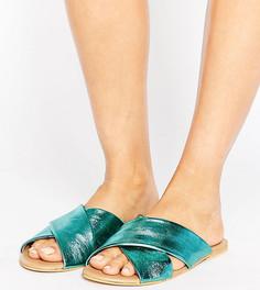 Кожаные шлепанцы для широкой стопы ASOS FLORIST - Зеленый