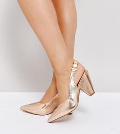 Остроносые туфли для широкой стопы с ремешком через пятку ASOS SANDCASTLE - Золотой