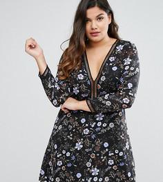 Чайное платье с цветочным принтом и отделкой лесенка Boohoo Plus - Мульти