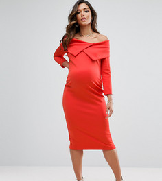 Платье с широким вырезом ASOS Maternity TALL - Красный
