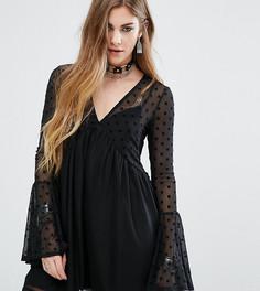 Свободное платье с сеткой в горошек Rokoko - Черный