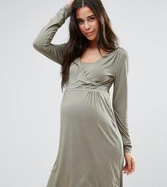 Приталенное платье для кормящих мам с запахом и ажурными вставками Mamalicious - Светло-серый Mama.Licious