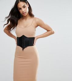 Платье миди со съемным поясом-корсетом NaaNaa - Коричневый