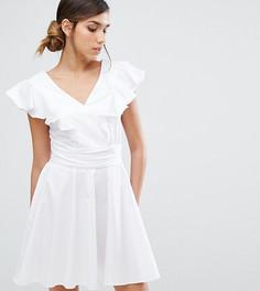 Хлопковое короткое приталенное платье с оборками Closet London - Белый
