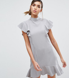 Платье с оборками и баской Closet London - Серый