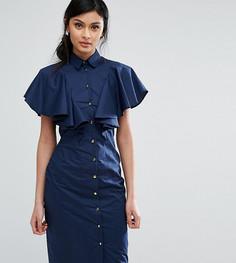 Платье-рубашка с оборкой Closet London - Темно-синий