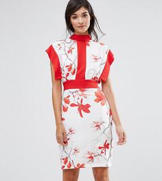 Платье миди с принтом, контрастными вставками и завязкой Closet London - Мульти