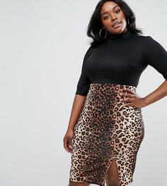 Платье-футляр с высокой горловиной и леопардовым принтом на юбке Club L Plus - Черный