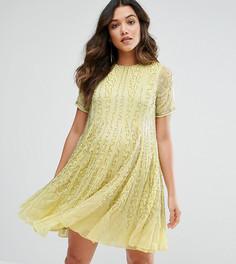 Короткое приталенное платье с отделкой бусинами ASOS Maternity - Желтый