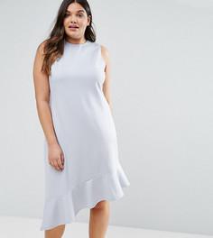 Платье миди с асимметричным краем ASOS CURVE - Серый
