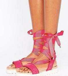 Розовые сандалии с помпонами и завязками Miss KG Dakota - Розовый