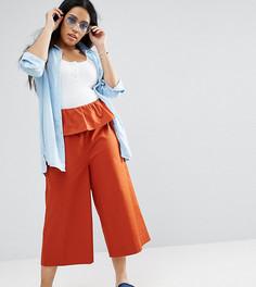 Широкие брюки с оборкой на поясе ASOS CURVE - Красный