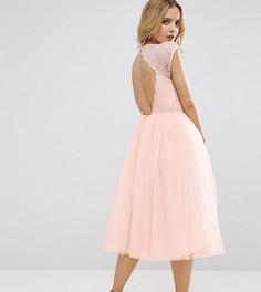 Платье миди для выпускного ASOS PETITE PREMIUM - Бежевый