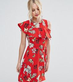 Чайное платье с рюшами и открытой спиной ASOS PETITE - Красный