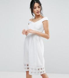 Платье миди со спущенными плечами и сетчатой юбкой Elise Ryan - Кремовый