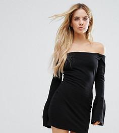 Платье с широким вырезом и рукавом клеш Missguided Petite - Черный