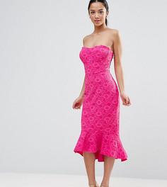 Кружевное платье-бандо с баской ASOS PETITE - Розовый