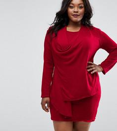 Драпированное платье размера плюс Elvi - Красный