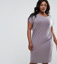 Присборенное сбоку платье с кружевной отделкой Elvi Plus - Серый