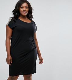 Присборенное сбоку платье с кружевной отделкой Elvi Plus - Черный