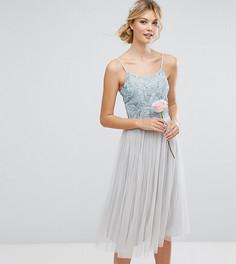 Платье миди с отделкой и пышной тюлевой юбкой Maya Tall - Синий