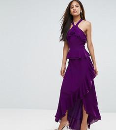 Платье макси с оборками и бретелью через шею True Decadence Tall - Фиолетовый