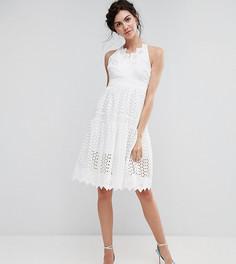 Кружевное платье для выпускного с запахом True Decadence Tall - Белый