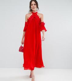 Плиссированное платье миди с вырезами на плечах True Decadence Tall - Красный