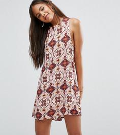 Цельнокройное платье с плиточным принтом без рукавов Glamorous Tall - Мульти