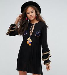 Свободное платье с вышивкой и рукавами-оборками Glamorous Tall - Черный