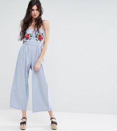 Комбинезон-бандо с широкими штанинами и вышивкой Glamorous Tall - Синий