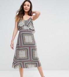 Свободное платье миди с открытыми плечами Glamorous Tall - Мульти