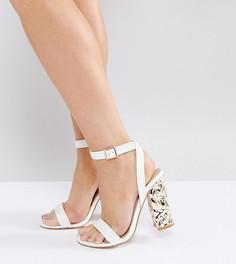 Босоножки на каблуке для широкой стопы ASOS HAZARD - Белый