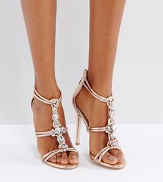 Декорированные сандалии на каблуке для широкой стопы ASOS HIGH SHINE - Бежевый