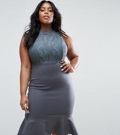 Платье миди с кружевным лифом и баской по краю Club L Plus - Серый