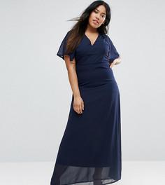 Платье макси с накидкой на спине Club L Plus - Темно-синий
