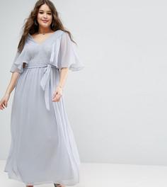 Платье макси с рукавами клеш и кружевными вставками ASOS CURVE - Серый