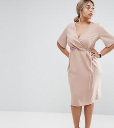 Платье миди с запахом и поясом ASOS CURVE - Бежевый