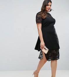 Асимметричное платье-футляр с кружевной отделкой и оборкой ASOS CURVE - Черный