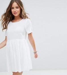 Свободное платье в стиле casual в фактурную клетку ASOS PETITE - Белый