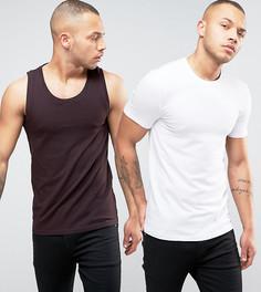 Комплект из обтягивающей футболки и обтягивающей майки ASOS, СКИДКА - Мульти